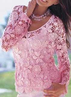 blusas de croche da moda feminina