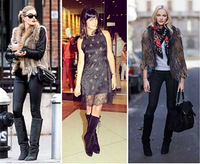 botas de cano longo da moda