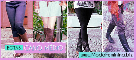 modelos de botas cano médio