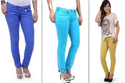 calças em várias cores