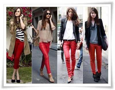 calças coloridas da moda