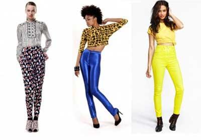 calças coloridas cintura alta