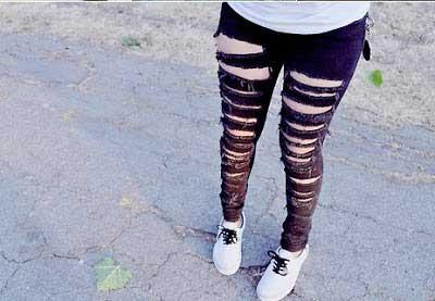 fotos de calças rasgadas