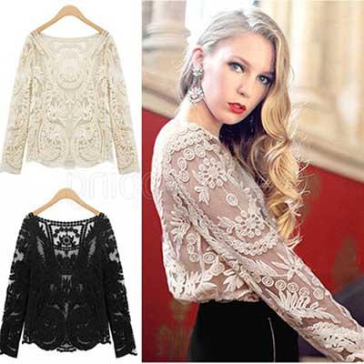 blusas de renda da moda feminina