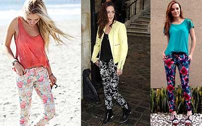 calças estampadas femininas da moda