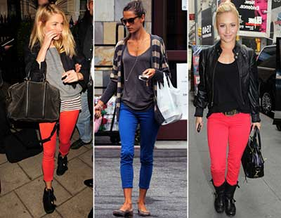 tendências de jeans coloridos