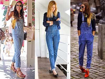 fotos de macacões jeans