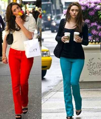 calças jeans coloridos