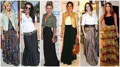 saias longas da moda feminina