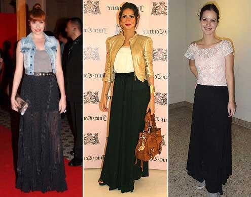 tendências de looks com saias longas