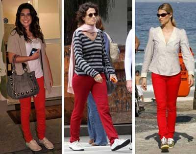tendências de calças vermelhas