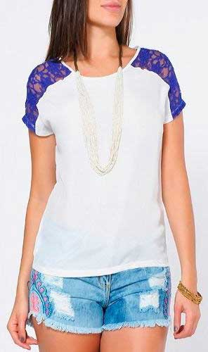 blusas com renda da moda