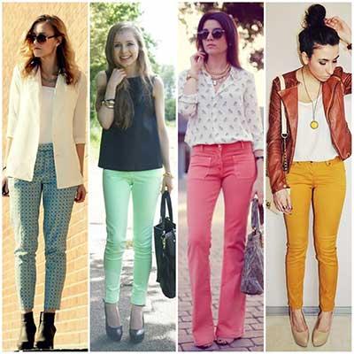 looks com calças coloridas