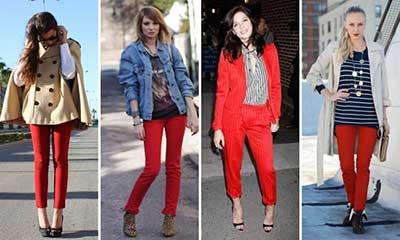 dicas de calças vermelhas
