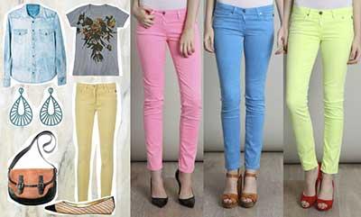 calças jeans em várias cores