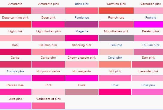 diversos tons de rosa ao pink