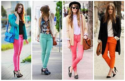 fotos de calças jeans coloridas