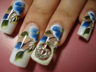 fotos de unhas com flores