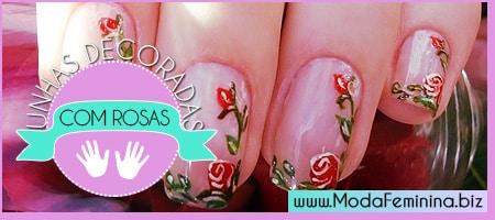 dicas de unhas decoradas com rosas