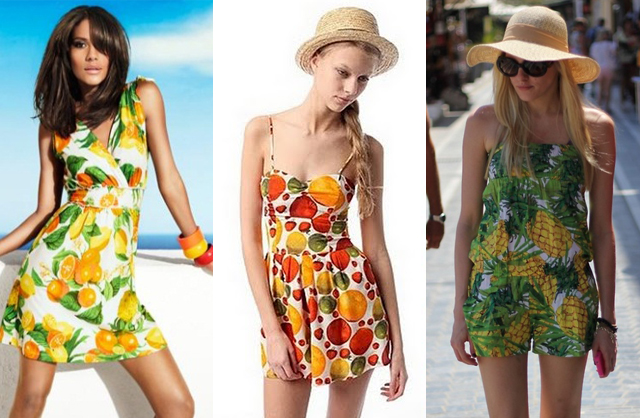 modelos de vestidos com estampas de fruta