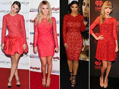 Vestido de renda com forro vermelho