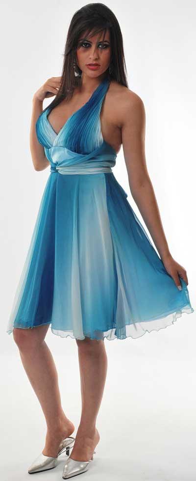 vestidos com degradé azul