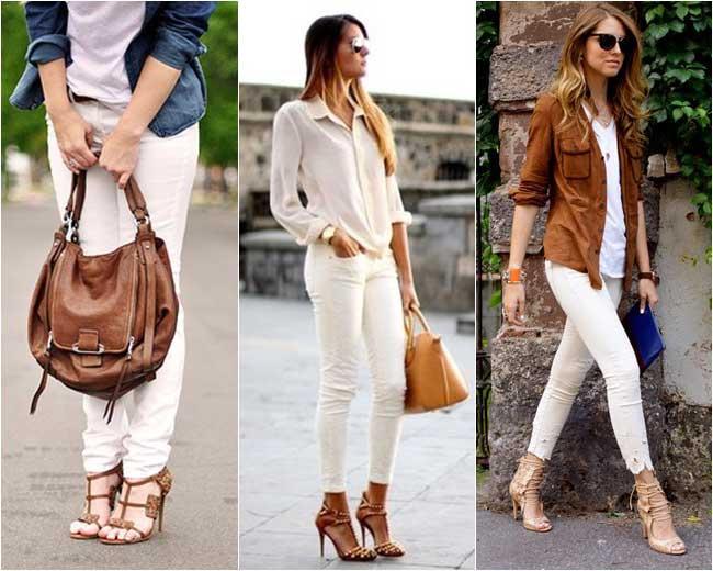 modelos de calças brancas
