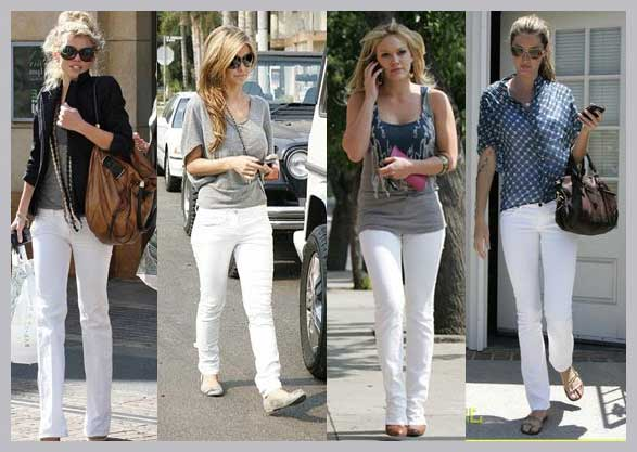fotos e modelos de calças brancas