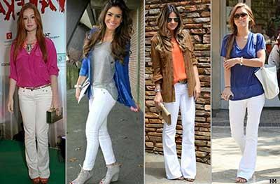 calças brancas da moda