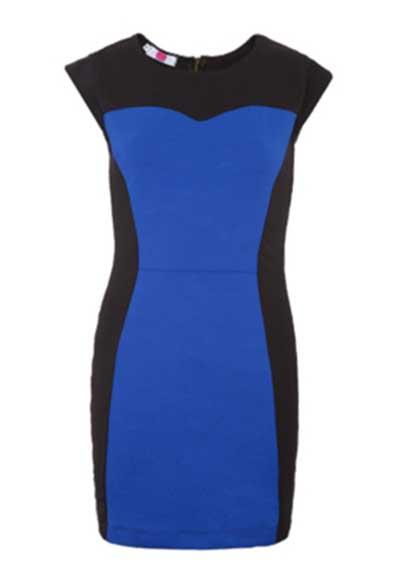 Imagem real do vestido azul e preto