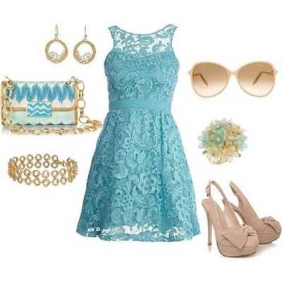 look com vestidos azuis