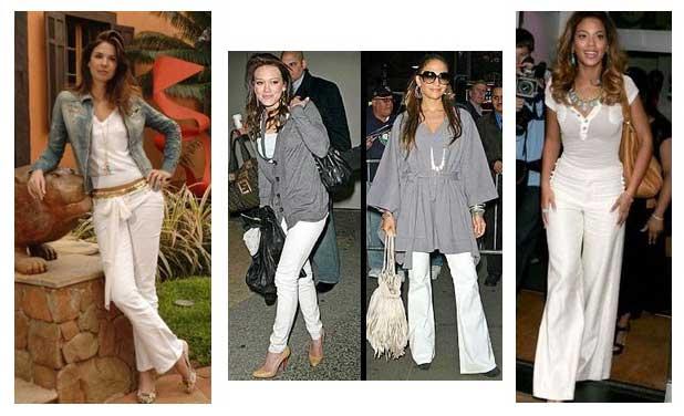tendências de calças brancas