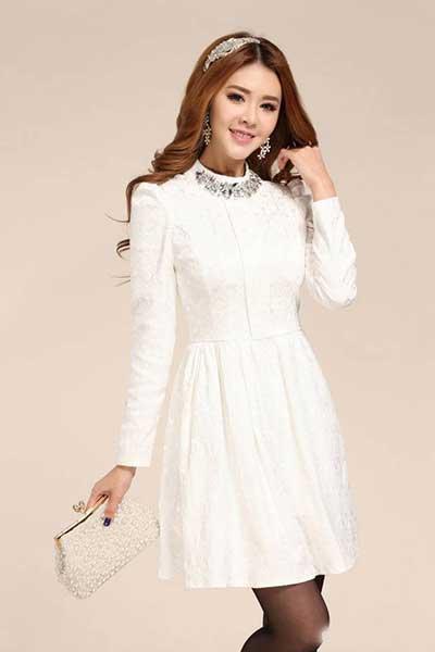 bdc0ee304a vestidos brancos da moda. Manga longa ...
