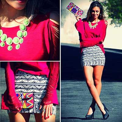 tendências de saias étnicas da moda
