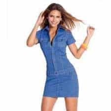tendências de vestidos jeans da moda