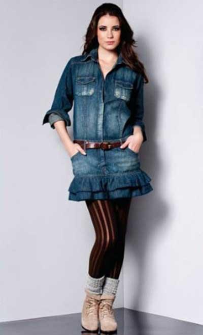 tendências de vestidos jeans