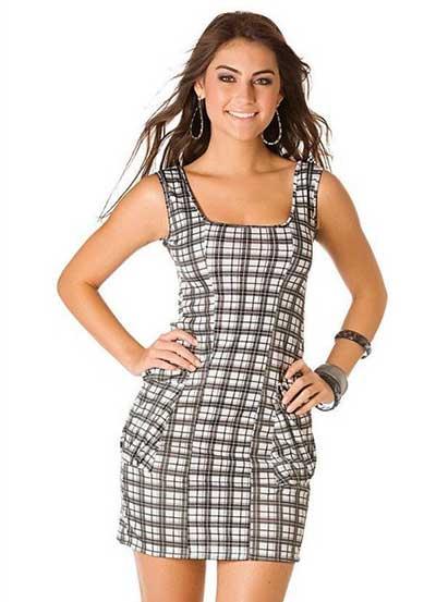 look com vestidos xadrez