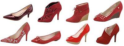 calçados vermelhos femininos