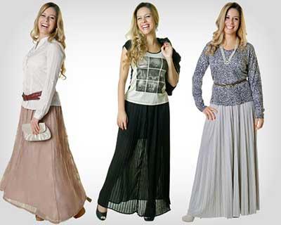 mulheres de saia da moda