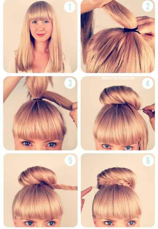 como fazer penteado com franja