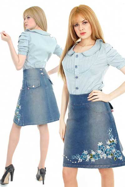 sugestões de saias jeans