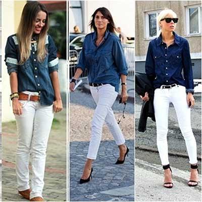 looks com calças brancas