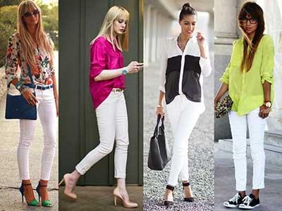 fotos de calças brancas