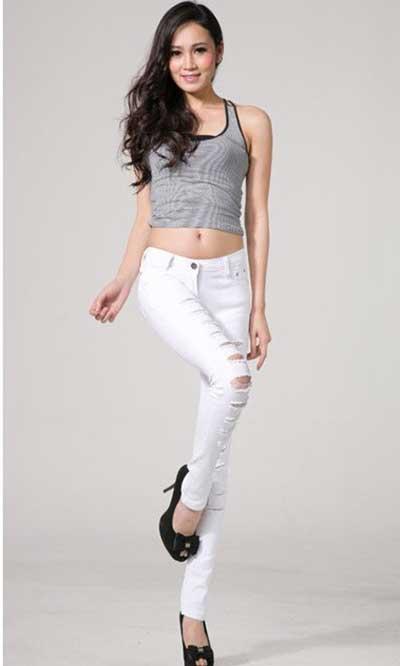 modelos de calças brancas jeans