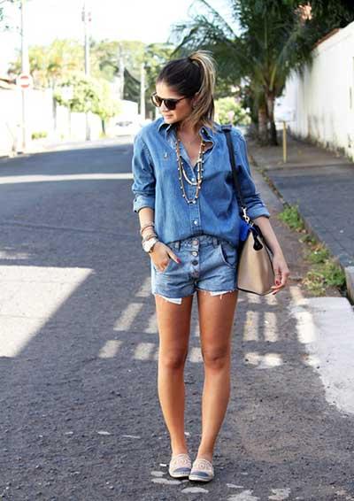 looks com camisas jeans