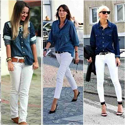 imagens de looks com camisas jeans