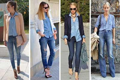 fotos de looks com camisas jeans