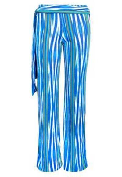 calças azuis estampadas