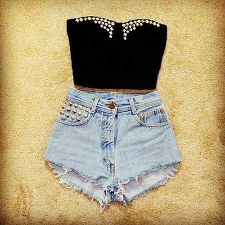 modelos de shorts da cintura alta