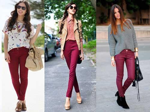 como usar calças cor de vinho